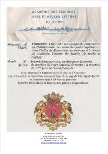 """Annulé : Conférence """"Sauvetage du patrimoine en pays Châtillonnais, à Beaunotte, Coulmier et Aignay"""" @ Salle de l'Académie des Sciences, Arts et Belles Lettres"""